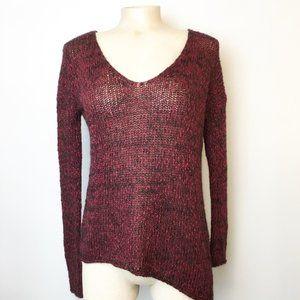 Aritzia Talula Asymmetrical Knit Sweater Burgundy